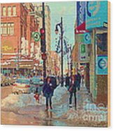 The Bay Department Store Downtown Montreal University And St Catherine Winter City Scene C Spandau  Wood Print