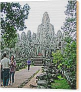 The Bayon In Angkor Thom In Angkor Wat Archeological Park-cambodia Wood Print