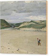 The Beach At Ambleteuse, 1869 Oil On Canvas Wood Print