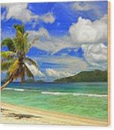 The Beach At Anse Gaulettes Wood Print