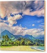 The Beach At Hanalei Bay Kauai Wood Print