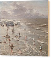 The Beach At Ostend Wood Print