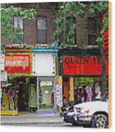 The Beadery Craft Shop  Queen Textiles Fabric Store Downtown Toronto City Scene Paintings Cspandau  Wood Print
