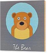 The Bear Cute Portrait Wood Print