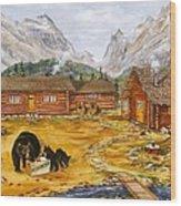 The Bear's Picnic Wood Print