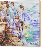 The Beatles At The Sea - Watercolor Portrait Wood Print