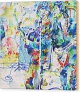 The Beatles Live Concert - Watercolor Portrait Wood Print