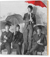 The Beatles - Paul's Red Umbrella Wood Print