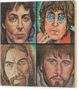 The Beatles Quad Wood Print