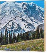 The Beautiful Mount Rainier At Sunrise Park Wood Print
