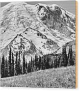 The Beautiful Mount Rainier At Sunrise Park - Washington State Wood Print