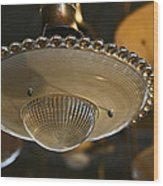 The Beauty Of A Vintage Glass Ceiling Light Wood Print