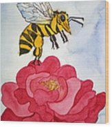 The Bee And The Rose Wood Print by Shirin Shahram Badie