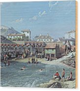 The Beginning Of Sea Swimming In The Old Port Of Biarritz  Wood Print