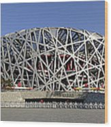 The Beijing National Stadium - Site Of 2008 Olympic Games Wood Print by Brendan Reals