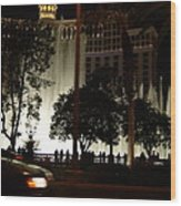The Bellagio At Night Wood Print