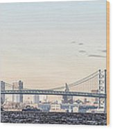 The Ben Franklin Bridge From Penn Treaty Park Wood Print