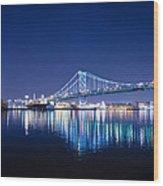 The Benjamin Franklin Bridge At Night Wood Print