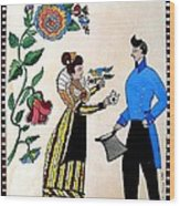 The Betrothal-folk Art Wood Print