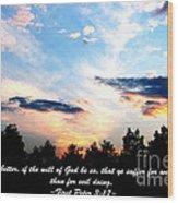 The Bible First Peter Three Seventeen Wood Print