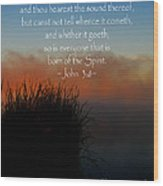 The Bible John Three Eight Wood Print