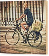 The Bicycle Rider - Leon Spain Wood Print