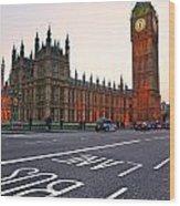 The Big Ben Bus Lane - London Wood Print