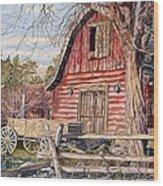 The Big Red Barn Wood Print
