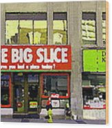 The Big Slice Pizzeria Downtown Toronto Restaurants Doner Kebob House Street Scene Painting Cspandau Wood Print