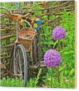 The Bike In The Garden Wood Print