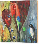The Bird And The Tulips Wood Print