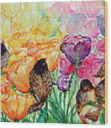 The Birds Of Spring Shower Blessings On You Wood Print