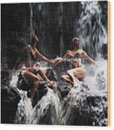 The Birth Of The Double Star. Anna At Eureka Waterfalls. Mauritius. Tnm Wood Print
