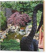 The Black Crane Wood Print