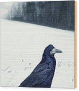 The Black Crow Knows Wood Print