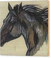 The Black Horse Wood Print