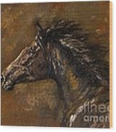 The Black Horse Oil Painting Wood Print