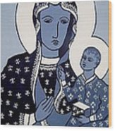 The Black Madonna In Blue Wood Print