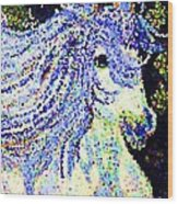 The Blue And White Pony Wood Print