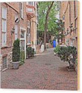 The Blue Door - Gaslight Court Chicago Old Town Wood Print by Christine Till