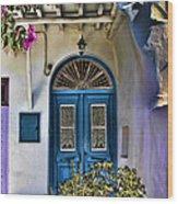 The Blue Door-santorini Wood Print