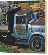 The Blue Farm Truck Wood Print