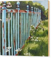The Blue Fence Wood Print