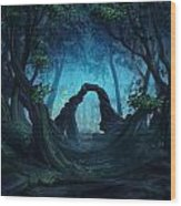 The Blue Forest Wood Print by Cassiopeia Art