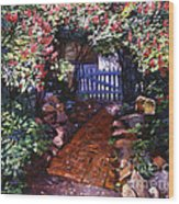 The Blue Garden Gate Wood Print