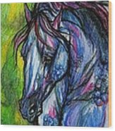 The Blue Horse On Green Background Wood Print