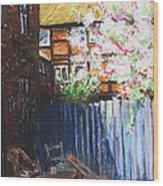 The Blue Paling - Backyard Of The Arthouse Buetzow Wood Print