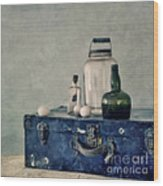The Blue Suitcase Wood Print