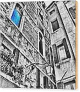 The Blue Window In Venice - Italy Wood Print