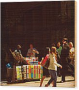 The Bookseller - New York City Street Scene - Street Vendor Wood Print